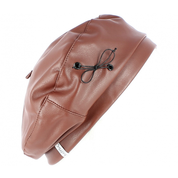 Beret Candide Imitaion Cuir Camel - Traclet