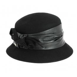 Chapeau Cloche Astrid en Feutre Laine Noir- Traclet