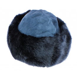 Toque Ivanova Cuir & Fausse Fourrure Bleu - Traclet