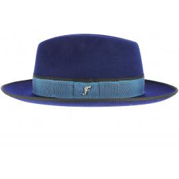 Chapeau Fédora Isidore Feutre Laine Bleu Roi- Fléchet