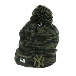 Marl Yankees Khaki and Black Pompom Cap - New Era