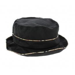 Chapeau Cloche Madeleine Noir avec Imprimé Tartan- Traclet