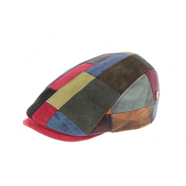 Casquette Plate Chambéon Patchwork Cuir- Fléchet