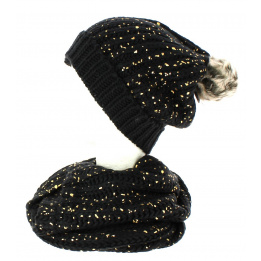 Ensemble Bonnet pompon et snood noir pailleté or TRACLET