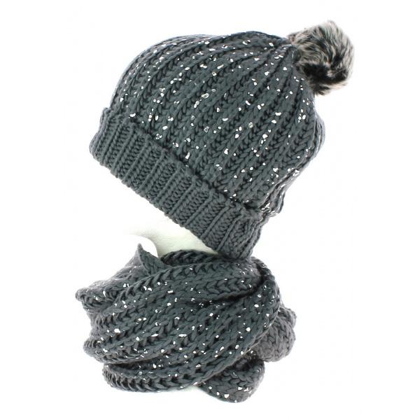 dcaf205d5ab70 Bonnet pompon et snood gris pailleté TRACLET