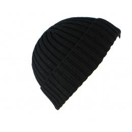 Bonnet en Tricot Dassel Avec Revers Noir- Fiebig