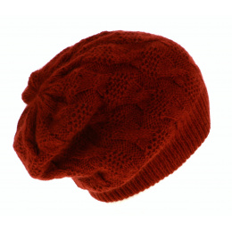 Bonnet Plat Abigail Angora Prune- Traclet