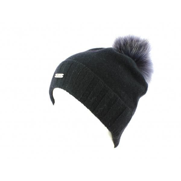 Bonnet à Pompon et Fourrure Noir/Gris-Fléchet