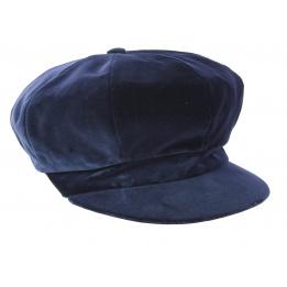 Casquette Gavroche Lucile Velours Bleu Marine- Traclet