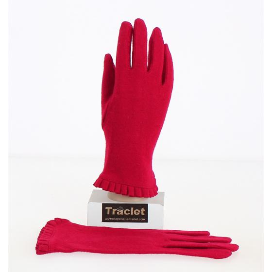 Gants Femme Laine & Nylon Rouge - Traclet
