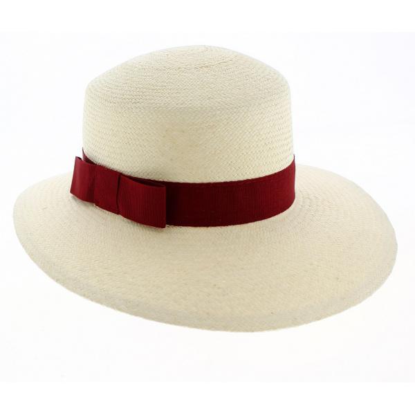 Casquette Panama Puyo Paille Naturelle & Rouge- Traclet