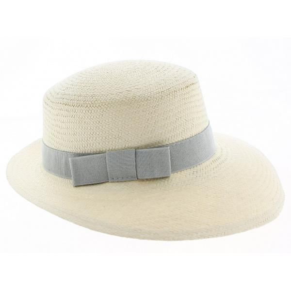 Casquette Panama Puyo Paille Naturelle & Gris Perle- Traclet