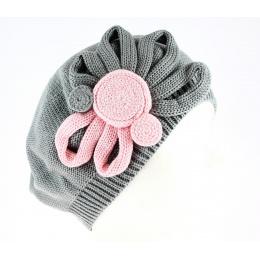 Béret Leïla Coton Fleur Gris & Rose- BeBeret