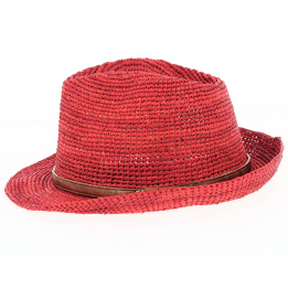 Chapeau Trilby Raphia Avignon Rouge- Traclet