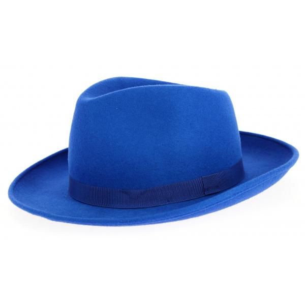 Chapeau Fedora Feutre Laine Bleu tunon - Traclet