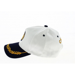 Casquette Baseball Capitaine Coton Blanc - Traclet