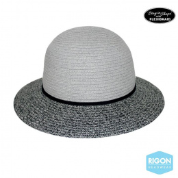 Chapeau Cloche Bicolore Naturel-Marron - Rigon Headwear