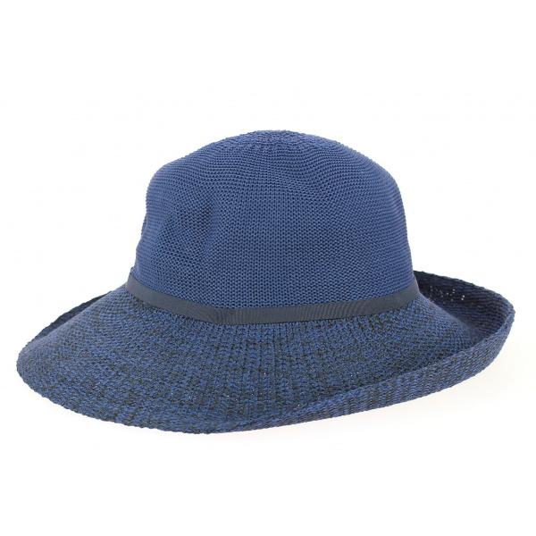 Capeline/ Chapeau Cloche Frida Polyester Marine & Noir - Rigon headwear