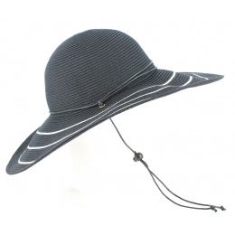 Capeline Freya Larges Bords Blanc/Noir - Rigon Headwear