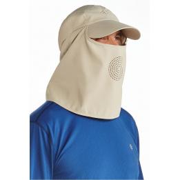 Casquette Ultra Sport cache-nuque & cache-visage Beige- Coolibar