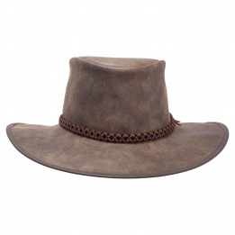 Chapeau Traveller Crusher Bomber Cuir Marron - American Hat Makers
