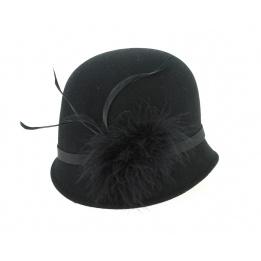 hat cloche black 30s