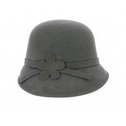 Chapeau Cloche Angelina Feutre Laine Gris- Traclet
