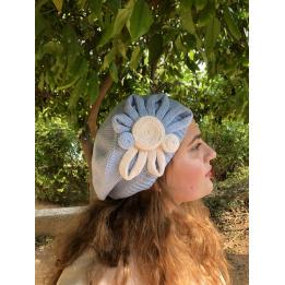 Béret Leïla Coton Fleur Bleu & Rose- BeBeret