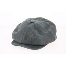 Casquette 8 Côtes Buffalo Cuir Gris Anthracite- Traclet