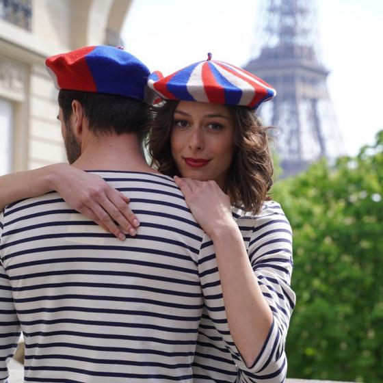 Béret Supporter Bleu/Ecru/Rouge - le béret français