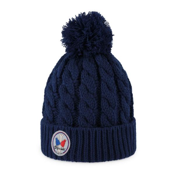 Bonnet à pompon Gstaad Bleu Marine- Pipolaki