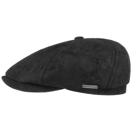 leather cap shape 6 stetson black colour