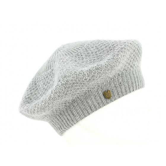 Grey Angora Honeycomb Beret- Traclet