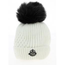 Bonnet Pompons Détachables Blanc- Traclet
