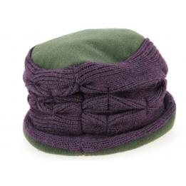 Toque Femme Polaire Vert & Violet- Traclet