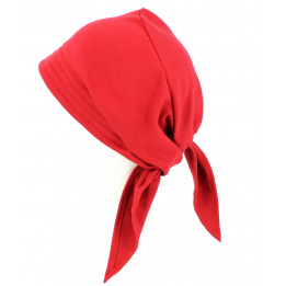 Turban Foulard Chimiothérapie Coton Rouge- Traclet