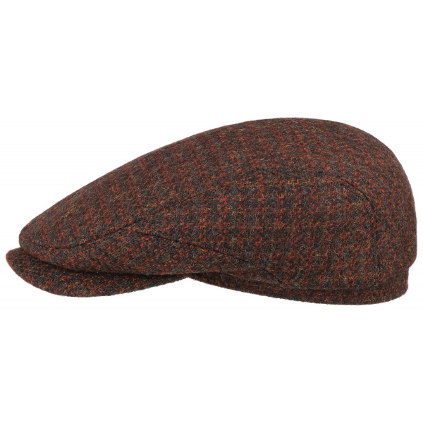 Casquette Plate Harris Tweed Laine Vierge Rouge- Stetson