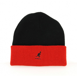 Bonnet Acrylique Pull-On Noir & Rouge- Kangol