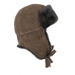 Chapka/Toque Vraie Fourrure Mouton Marron- Traclet
