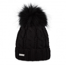 Bonnet à pompon-Fourrure Calgary Noir- Pipolaki