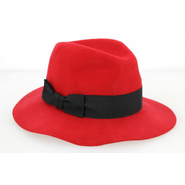 Chapeau Traveller Femme Calixa Feutre Laine Rouge- Traclet