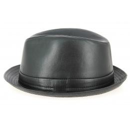 Chapeau Porkpie Fabro Cuir Noir- Traclet