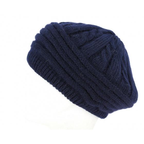 Baroni Angora & Navy Wool Beret- Traclet