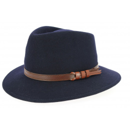 Chapeau Fedora Jamer Feutre Laine Bleu Marine- Traclet