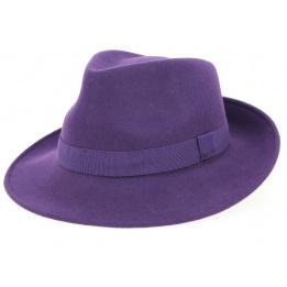 Chapeau Fédora Feutre Laine Raisin- Traclet