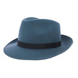 Chapeau Fedora Feutre Laine Bleu- Traclet