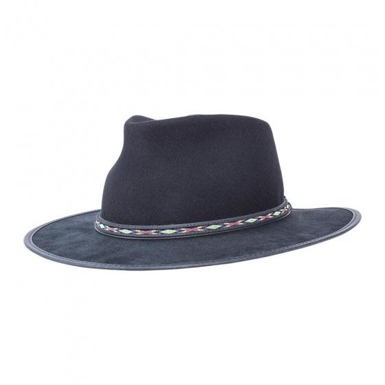 Chapeau Traveller Bushwick Laine & Cuir Noir- American Hat Makers