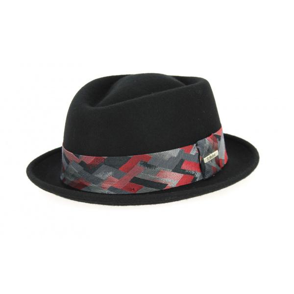 Chapeau PorkPie Arlequin Feutre Laine Noir - Traclet