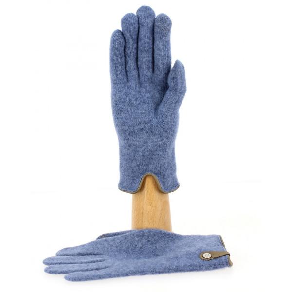 Gants Tactiles Séville Laine & Cachemire Bleu/Marron- Traclet