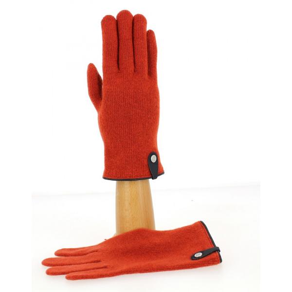 Gants Tactiles Séville Laine & Cachemire Terracota/Marine- Traclet